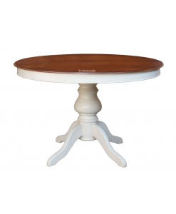 Table ronde à manger bicolore
