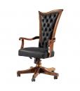 fauteuil bureau en bois, fauteuil style classique réglable, fauteuil dossier haut rembourré