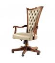 fauteuil de bureau en bois, fauteuil en bois pour cabinet, fauteuil classique en cuir