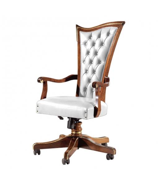 fauteuil bureau en bois, fauteuil dossier haut, fauteuil pour bureau classique