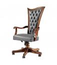 Fauteuil bureau en bois, fauteuil de bureau bois et cuir