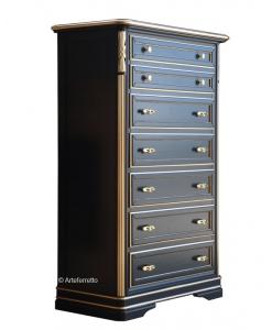 Chiffonnier Semainier, meuble chiffonnier rangement, rangement salon, semainier noir, mobilier en bois, meuble semainier