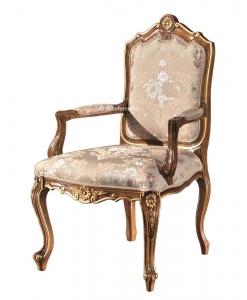 chaise bout de table sculptée, chaise avec accoudoirs, chaise élégante style classique, chaise classique pour salon