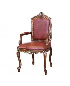 Fauteuil sculptée, chaise avec accoudoirs, chaise élégante style classique, chaise classique pour salon