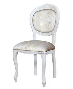Chaise rembourrée blanche, chaise bois massif, achat chaise classique, mobilier pour salon en bois