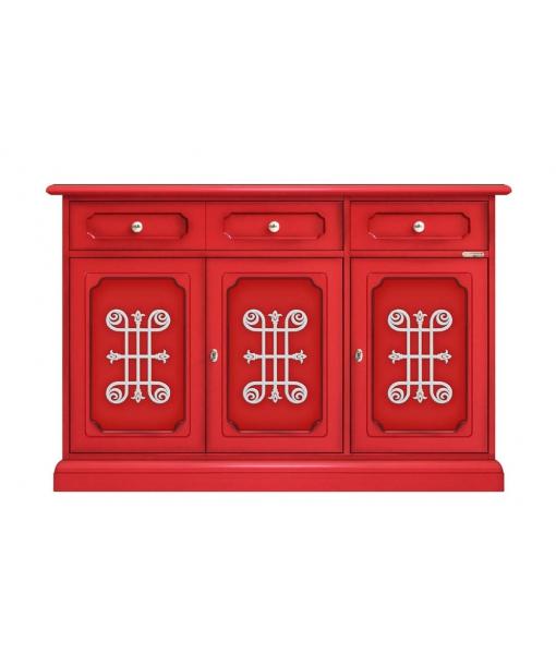 buffet laqu rouge you avec frises lamaisonplus. Black Bedroom Furniture Sets. Home Design Ideas