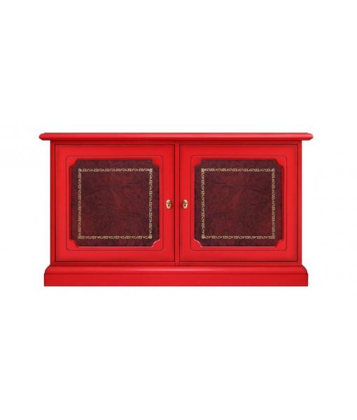 Meuble buffet bas laqué rouge, bahut, meuble buffet, meuble rouge, mobilier rouge