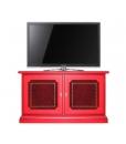 Buffet bas laqué rouge empiècement en cuir, meuble rouge, meuble tv rouge, meuble buffet rouge, bahut rouge, meuble buffet bas rouge