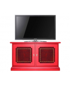 Buffet bas laqué rouge empiècement en cuir, meuble rouge, meuble tv rouge, meuble buffet rouge, bahut rouge, meuble buffet bas rouge
