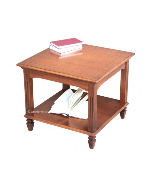 Table basse de salon pieds cannelés, table basse de salon avec étagère, table de salon en bois, mobilier style classique