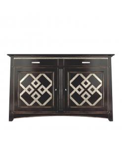 Meuble buffet noir et blanc, buffet 2 portes, meuble bahut noir, buffet moir, meuble de style classique en bois
