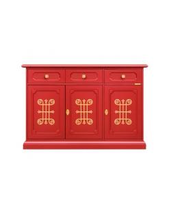 Meuble buffet design, buffet de style classique en bois, mobilier rouge, rouge rubis, style classique italien