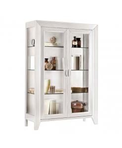 Vitrine style contemporain en bois, meuble vitrine blanc, vitrine blanche, achat vitrine pour salon