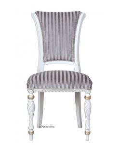 Chaise pieds cannelés, chaise tissu gris, chaise tissu rayé, chaise banche, chaise style classique en bois