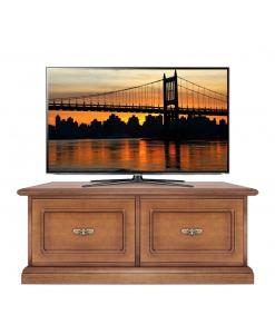 Meuble base TV fermeture amortie, meuble tv bas, meuble tv en bois, meuble support télé de style classique