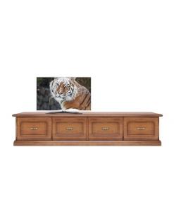 Base TV avec tiroirs, meuble TV, tiroirs fermeture amortie, banc tv long