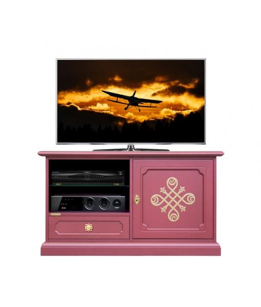 Meuble tv bas en bois couleur rubis et or réf. 05-RU