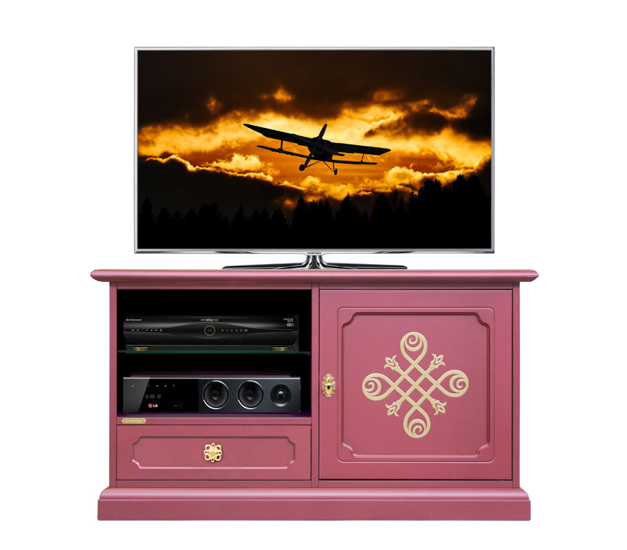 Meuble tv bas design rubis et or lamaisonplus for Meuble tv petite largeur
