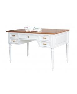 Bureau bicolore en bois, achat bureau de cabinet, bureau avec tiroirs, bureau secrétaire, mobilier classique pour bureau