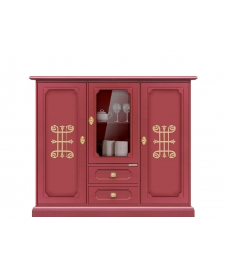 Buffet haut porte vitrée, meuble buffet haut, rouge rubis, mobilier classique en bois, fabricant mobilier en ligne, design italien