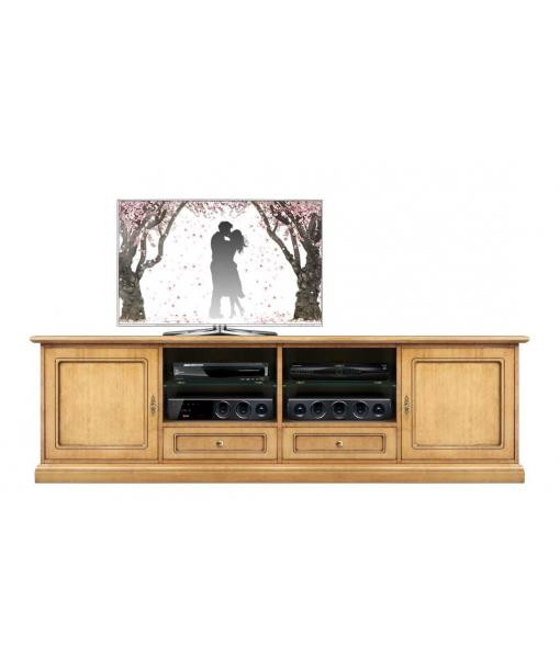 Meuble banc tv en bois 2 mètres largeur réf. 4010-QP-BI
