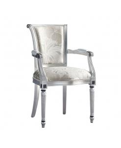Chaise avec accoudoirs et pieds cannelés, chaise style empire, chaise pieds cannelés, chaise de style classique, chaise classique en bois