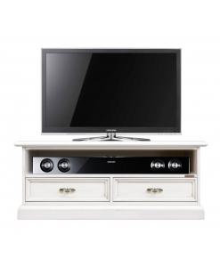 Meuble TV bas avec niche barre de son, meuble tv bas, logement barre de son, fabricant meuble tv, mobilier classique en bois