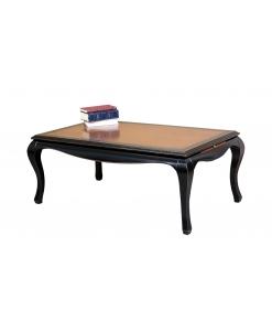 Table basse bicolore avec tirettes latérales, TABLE DE SALON, TABLE BASSE DE SALON, table noire à café, table avec tirettes