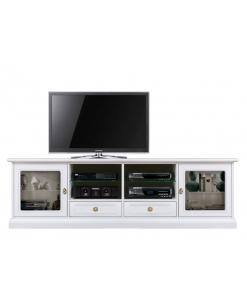 Meuble banc TV 200 cm, banc tv, meuble tv blanc, meuble tv portes vitrées. design, style classique