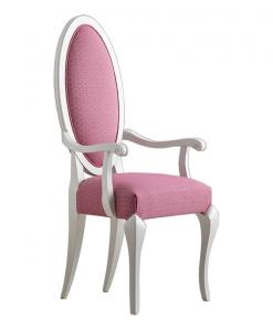 Chaise dossier ovale, chaise blanche, chaise dossier rembourrée, achat chaise en ligne, mobilier style contemporain