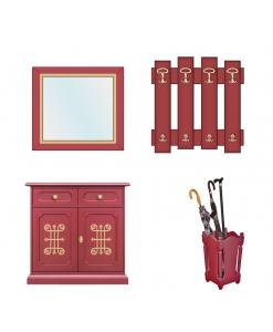 Ensemble meubles hall d'entrée, rouge rubis, meuble d'entrée, porte parapluie, miroir pour l'entrée