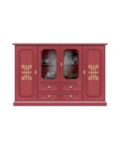 Grand meuble buffet 4 portes rouge-rubis et or Arteferretto