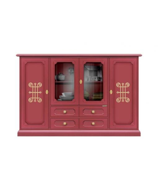 Buffet vitrine de rangement 4 portes rubis et or réf. 3100-RU