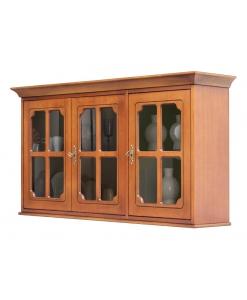 Vitrine suspendue 3 portes, vitrine murale, vitrine merisier, vitrine suspendue pour cuisine