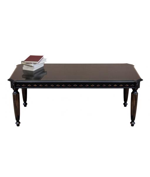 Table basse rectangulaire laquée noir vieilli, RÉF : ER-236-N