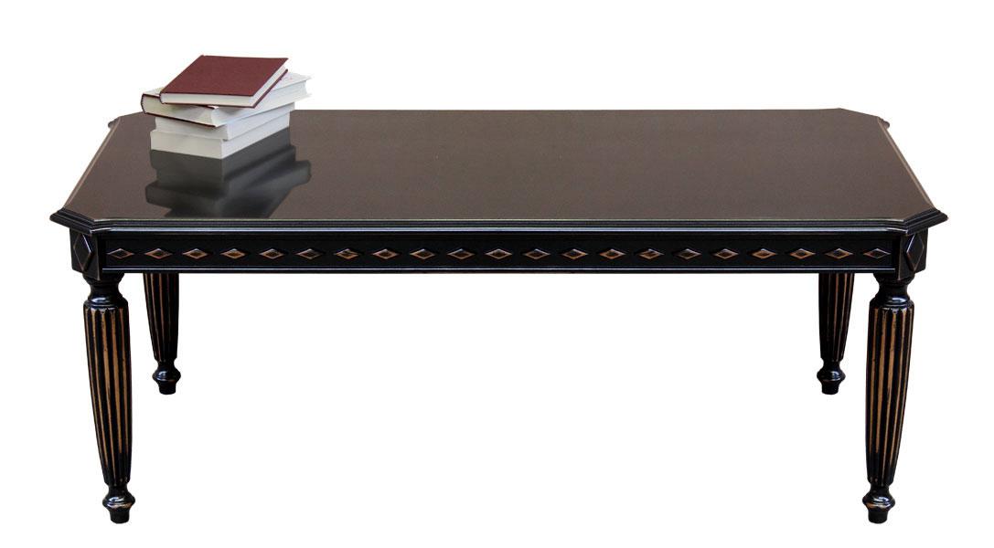 Table basse rectangulaire laqu e noir vieilli lamaisonplus - Table basse laquee noire ...