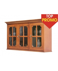 Vitrine suspendue 3 portes, PROMOTION, PROMO ACHAT VITRINE, vitrine murale, vitrine murale classique en bois