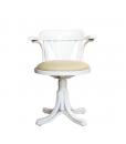 Fauteuil tournant , fauteuil assise en cuir écologique, fauteuil blanc, fauteuil tournant