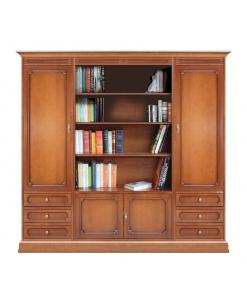 Composition bibliothèque avec niche centrale ouverte, bibliothèque murale, bibliothèque modulaire, bibliothèque grandes dimensions