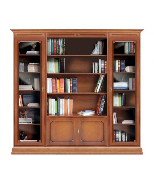 Bibliothèque composition modulaire portes vitrées réf. 215-VG