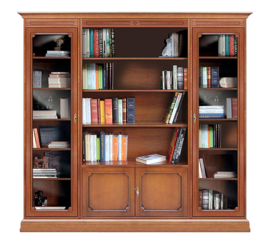 Bibliothèque composition modulaire portes vitrées  -> Bibliotheque Composition