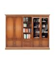 Composition murale complète 250 cm, meuble bibliothèque 3 corps, bibliothèque modulaire salon ou cabinet, bibliothèque vitrée en bois