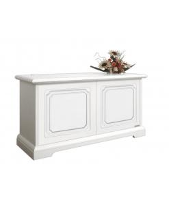 Coffre de rangement en bois laqué , coffre de rangement, coffre blanc