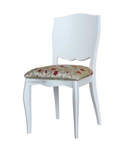 Chaise blanche dossier plein en bois, chaise blanche, chaise rembourrée, chaise salle à manger