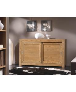 Buffet portes coulissantes, buffet 2 portes, meuble bufet bas, meuble buffet en bois naturel