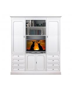 Meuble mural de rangement, meuble mural tv, achat meuble blanc, meuble en ligne, meuble rangement salon