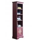 Bibliothèque colonne étroite, bibliothèque haute, meuble bibliothèque avec pore, bibliothèque en bois, rouge rubis