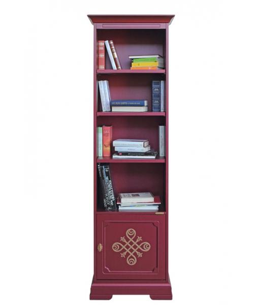 Bibliothèque colonne étroite, bibliothèque rouge, meuble bibliothèque, bibliothèque étagères
