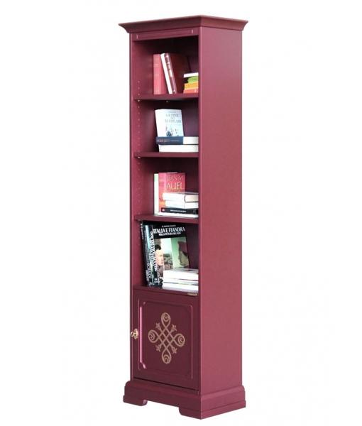 Bibliothèque colonne étroite, bibliothèque colonne, meuble bibliothèque en bois, bibliothèque design, rouge rubis