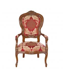 Fauteuil sculpté style Louis Philippe, fauteuil avec accoudoirs, fauteuil tissu, achat fauteuil classique, fauteuil en ligne